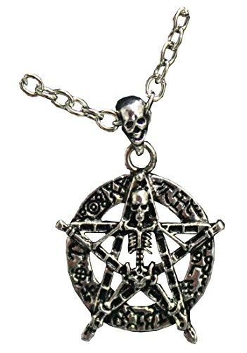 esoterische Halskette mit Skelett und Stern - Metall - frei Nickel - 2,5 cm x 2,5 cm - Pidak-Shop (Skelett-shop)