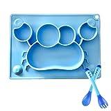 Assiette en silicone pour bébé avec cuillère et fourchette Sensitive Approuvé par la FDA Sans BPA Assiettes Antidérapantes Plateau Alimentaire 4 Ventouses Fortes 1 trou pour Suspendre (Crabe Bleu
