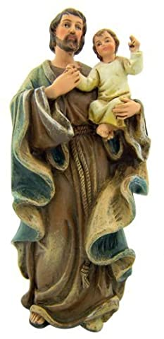 Catholic Saint Joseph with Jesus Christ Child Resin Figure Statue, 4 Inch by Religious Gifts