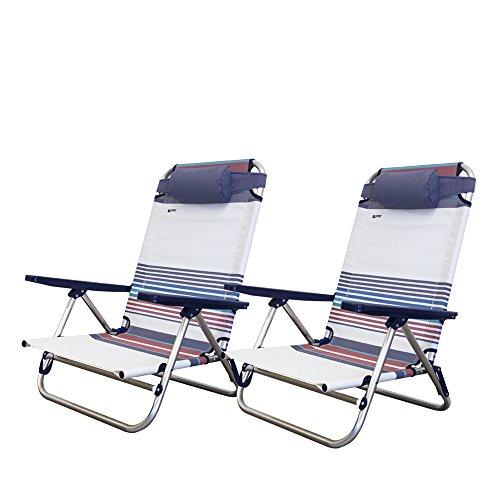 Xone coppia spiaggine vintage ribaltabili | pieghevoli, per mare, giardino, campeggio | sedie sdraio da spiaggia richiudibili struttura in alluminio e textilene dimensioni 48,5x60x83,5(h) cm