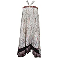 Mogul Interior Bohemian Magic Wrap Skirt Beige Vintage Silk Sari Reversible Long Skirt, Beach Wear