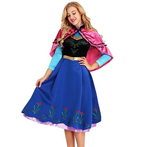 6689a7c52546 iixpin Disfraz de Princesa Mujer 2Pcs Conjunto de Disfaces para Adultos  Vestido Azul con Capa Rosa