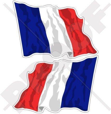FRANKREICH Französisch Wehende Flagge Française 75mm Auto & Motorrad Aufkleber, x2 Vinyl Stickers (Links - Rechts) -