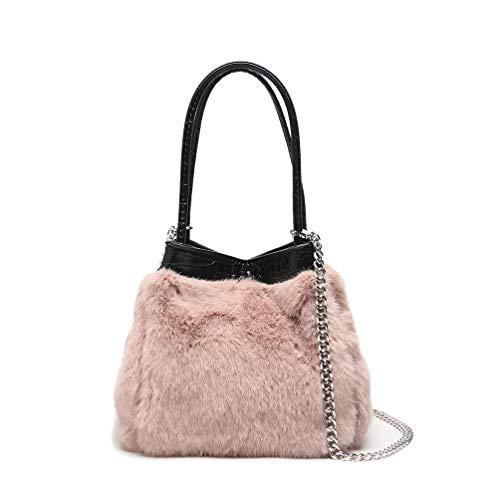 Borsa pelliccia sintetica, borsa secchiello donna borsa a tracolla piccola borsetta catena borse a mano a spalla pelliccia ecologica per ragazza casual inverno