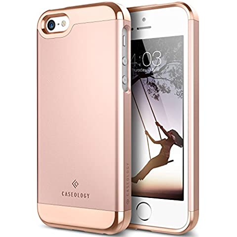 Funda iPhone SE, Caseology® [Serie Savoy] Anti-Arañazos Enchapado de 2 Piezas Gota de Protección [Oro Rosa] para Apple iPhone SE / 5S / 5 - Oro