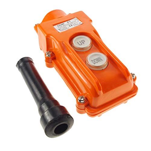 perfk Hebebühne Drucktaster Schalter, 2-Taster Up-Down Schalter für Kran Seilwinde Anhänger usw, Wasserdicht