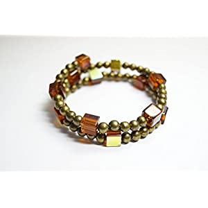 Armreif Glasperlen und Metallperlen Armband braun