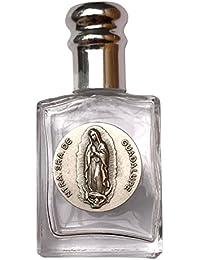 Angelitos de Mexico Botella pequeña de cristal de agua sagrada con nuestra Señora de Guadalupe Bote