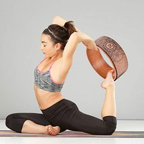 SmallPocket Yoga Wheel Kork, Yoga Rad Holz zum Dehnen Natürliches Kork Fitness Rad Stabiler und Rutschfester Yoga Wheel Rolle für Yoga-Posen Yoga Kreis-32cm × 13cm