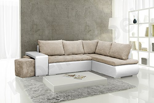 Ecksofa mit zwei Hocker Sofa Eckcouch Couch mit Schlaffunktion und Bettkasten Ottomane L-Form Schlafsofa Bettsofa Polstergarnitur - BELGRAD (Ecksofa...