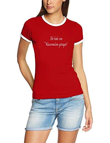 Wassermelone Bekleidung (Ich habe eine Wassermelone getragen - DIRTY DANCING - Girly Ringer rot/weiss, Gr.M)