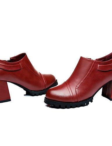 WSS 2016 Chaussures Femme-Mariage / Bureau & Travail / Habillé-Noir / Bordeaux-Gros Talon-Talons-Talons-Similicuir burgundy-us5.5 / eu36 / uk3.5 / cn35