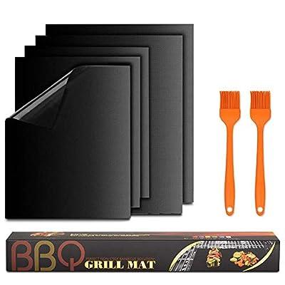 Grillmatte 5er Set BBQ Antihaft Grill-und Backmatte wiederverwendbar PFOA-frei FDA 500°F für BBQ Kohlegrill holzkohlegrill Holzkohle Gasgrill Elektro Grill and Backofen