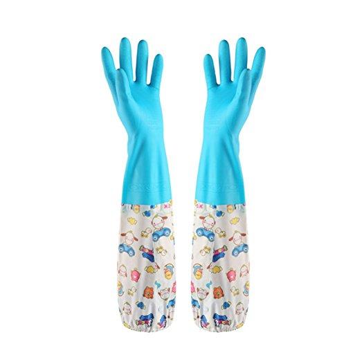 Gespout Guanti in PVC Guanti impermeabili riutilizzabili per pulizie domestiche Pulizia di cucine Lavaggio auto Taglia grande 1 paio (azul)