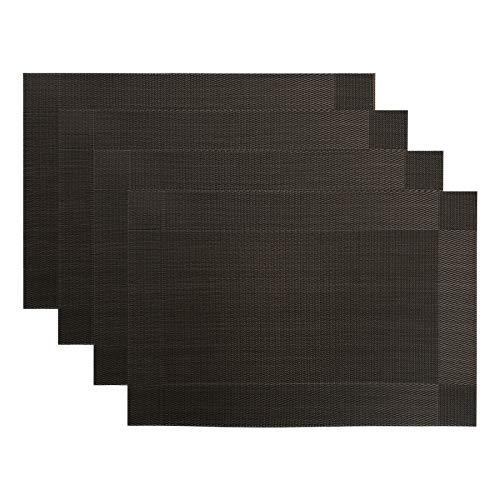 CITÉTOILE Tapetes de Mesa Juego de 4 manteles Individuales de Mesa de Comedor Place Mats Lavable, antideslizantePVC Resistente al Calor de Estilo Elegante con Decoracion rectangulo 45x30cm Negro