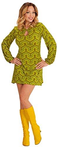 Karneval-Klamotten Hippie Kostum Damen 70er Jahre Damen-Kostüm Retro Kostüm grün Karneval Damen-Kostüm Größe 34/36