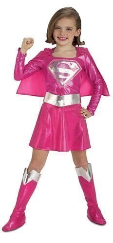 ics Supergirl Superman Super Hero Büchertag Kostüm Kleid Outfit - Rosa, Rosa, 5-7 years (Superman Outfit Kind)