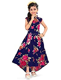 Renish Enterprise Girls Navy Blue Print Frock Party Wear Dress (RE151)