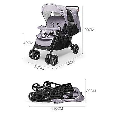 XYL Silla de Paseo de Cochecito Doble Plegable para niños/bebés con una combinación de Canasta de Almacenamiento Grande Arnés de Cinco Puntos Tragaluz Grande Cochecito cómodo