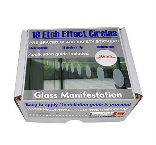 Professionelle Sicherheitsaufkleber für Fenster und Türen, rund, 50mm-Durchmesser, 150 cm (59 Zoll) lang, 18 Kreise pro Pack