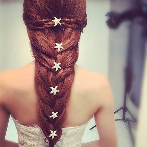 Steellwingsf 6 Stück Seestern U-Form Zopf Kopfbedeckung Hochzeit Party Haarnadel für Mädchen Haarschmuck