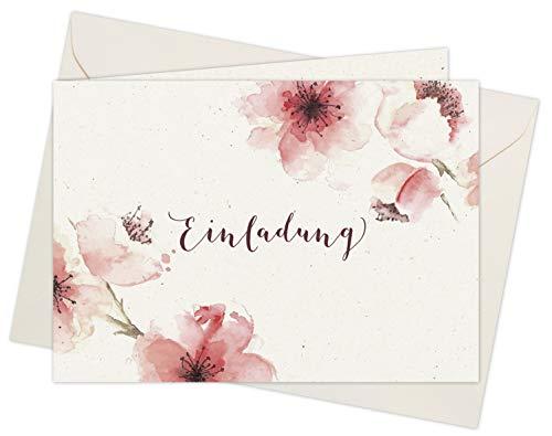 20 Karten & 20 Umschläge: Klappkarten Einladungskarten - Kirschblüten - DIN A6 im Set, Einladung zur Hochzeit, Taufe, Geburtstag, Konfirmation, Kommunion, Jubiläum