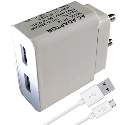 ShopReals 2 Amp Dual Port Mobile Charger for Samsung Galaxy Tab 2 10.1 P5100 (P 5100) Charger Original Adapter Like Mobile Charger | Power Adapter | Wall Charger | Fast Charger | Android Smartphone Charger | Battery Charger | Hi Speed Travel Charger With 1 Meter Micro USB Charging Data Cable ( 2 Amp Dual Portere , Black / White )  available at amazon for Rs.449