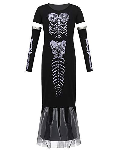 Kostüm Kleid Schwarz Tutu - iixpin Skelett Kleid für Mädchen Halloween Tutu Kinder Kostüm Set Lang Partykleid mit Armstulpen Fasching Karneval Cosplay Outfits Gr. 110-172 Schwarz 158-164/13-14 Jahre