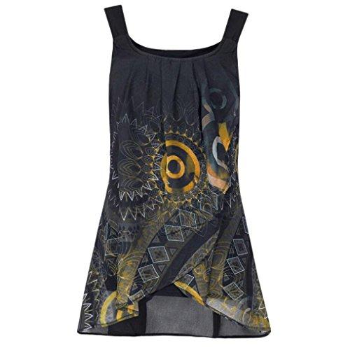 SEWORLD Damen Sommer Mode Drucken Drucken Shirt Ärmelloses O-Ausschnitt Batik Weste Camis Tank Tops Bluse Leibchen (Gelb,EU-36/CN-S)