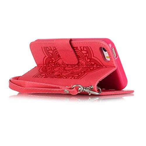 iPhone 7 4.7 Custodia (Con Gratuito HD Proteggi Schermo) CaseHome Cacciatore di sogni Mandala Fiore Sbalzato Progettazione stile del libro Foglio flip magnetico Chiusura Costruito In Stand Full Body Rosso