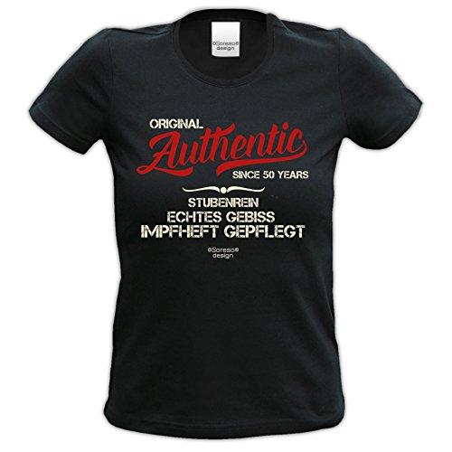 trendiges t shirt Damen Girlie Motiv Authentic Since 50 Years Geschenk Frau einzigartiges Geburtstag Jahrgang T-Shirt Farbe: schwarz Schwarz