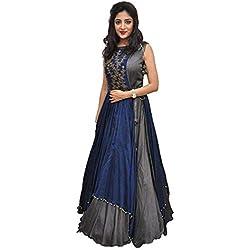Nancy Fab Women Georgette Long Anarkali Salwar Suit/Gown With Dupatta (grey)