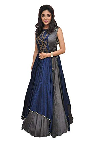 Nancy Fab Women Georgette Long Anarkali Salwar Suit/Gown With Dupatta (grey)