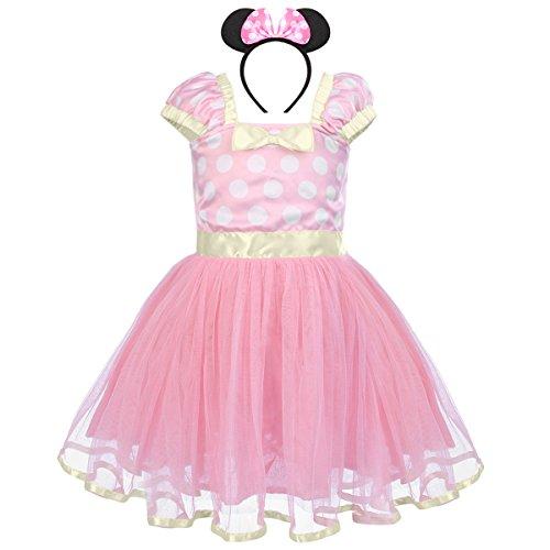 gs Kleinkind Baby Mädchen Prinzessin Tüll Kleid Polka Dot Ballettkeider Trikot Tanzkleider Weihnachten Karneval Cosplay Kleid mit Maus Ohren Bowknot Partykleid Outfits Rosa (Baby Minnie Maus Kostüme)