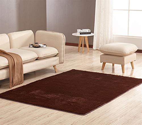 Ommda tappeto rettangolare moderno salotto peloso pelo corto tappeti tinta unita shaggy antiscivolo lavabile,160x200cm,caffè