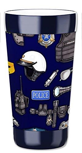 mugzie Tumbler Drink Cup abnehmbarer Bezug mit isolierter Neoprenanzug, Polizei, plastik, mehrfarbig, 16 Ounce (Kind Trinken Coaster)