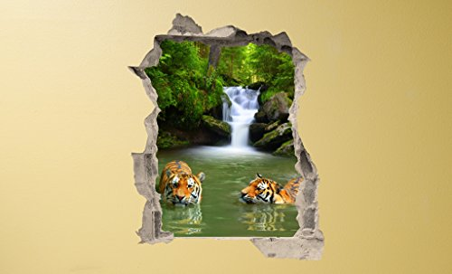 PROXTA Wandtapete 3D - Wall Magic 100 x 120 cm - BATH WITH TIGERS - Selbstklebende 3D-Tapete aus Vinyl Wand-Aufkleber Loch in der Wand Illusion Wandtattoo Wandsticker