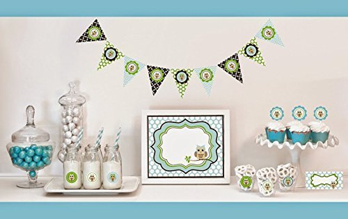 1 SET of 95 Blue Owl Decorations Starter Kit by Eventblossom -