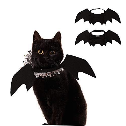 atzen, Hunde, Katzen, Fledermaus-Kostüm, Kürbis-Katzen, Flügel, Fledermausflügel, für Welpen, Hunde, Katzen, Halloween, Party, Schwarz ()