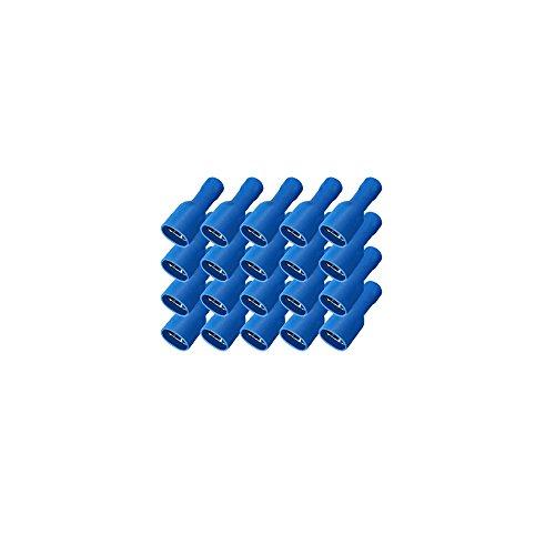 Flachsteckhülsen 6,3 x 0,8 mm vollisoliert 100x Flachsteckhülse Blau 1,5 - 2,5 mm² Crimpzange Flachstecker Press Crimp Zange Flach Stecker Kabelschuhe kfz Litzen Elektro Elektriker Kunststoff ARLI