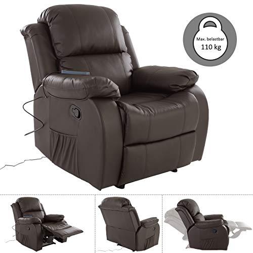MACO Import Fernsehsessel Relaxsessel braun kippbar TV Liege mit elektrische Massage, Heizung