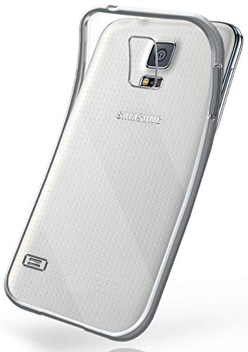 moex Samsung Galaxy S5 | Hülle Silikon Transparent Silber Chrom Back-Cover Silikonhülle Dünn Schutzhülle Handyhülle für Samsung Galaxy S5 / S5 Neo Case Ultra-Slim Tasche TPU (S5 Gel Galaxy Samsung Fall)