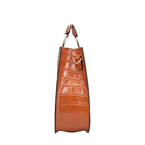 Dissa Q0825 Damen Leder Handtaschen Satchel Tote Taschen Schultertaschen Braun