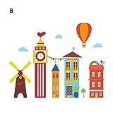 Maison coloré Stickers muraux pour les enfants Salon Chambre à coucher décorations Vinyle amovible Art Mural Stickers Bricolage Papier peint DC12, B, XL