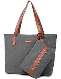 Sornean Woman Hangbags Canvas Top Handle Tote Bags Shoulder Purse 2Pcs Set (Grey)