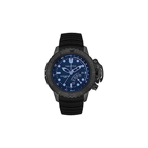 Nautica Men's Analogue Quartz Movement Watch with Silicone Bracelet Dark Blue Dial Nmx Diver Style NAI52500G WR 200M