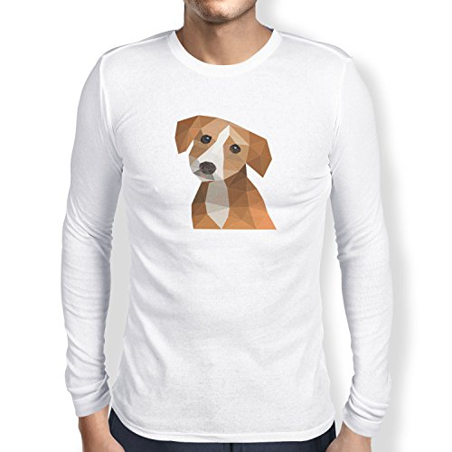 TEXLAB - Polygon Hund - Herren Langarm T-Shirt Weiß