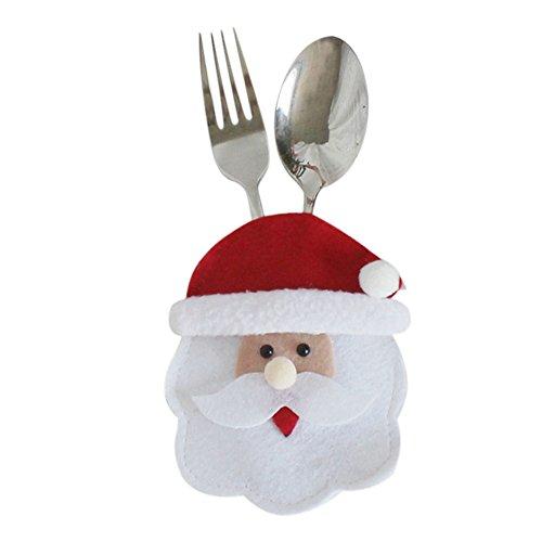 halter Weihnachten Tischdeko Weihnachtsfiguren Gabeltasche Bestecktasche Elch Nikolaus Schneemann Tischgeschirr Halter Besteck-Sets (Set) ()