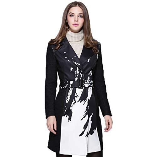 QJKai Frauen nehmen Langen Trenchcoat gedruckt Windjacke V-Ausschnitt Damen Einreiher Belted Jacke Outwear mit Taschen Large Size Women's Wear (Size : M)