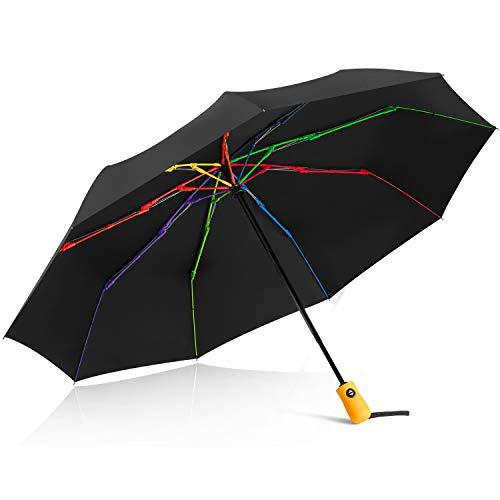 Ombrello pieghevole portatile automatico antivento, bestkee ombrello da viaggio compatto asciugatura veloce con auto apri/chiudi pulsante, impugnatura antiscivolo